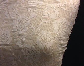 """Floral Stretch Lace Fabric 35""""x36"""""""