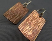 Copper with Sterling Silver Retangular Textured  Earrings