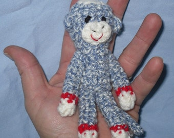 Tiny Sock Monkey - denim blue with red bands