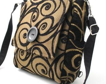 black shoulder bag, cross body bag converts to  backpack purse, messenger bag, sling bag,  black purse, zipper bag, fit Ipad