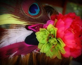 SALE 25% OFF!!! Jungle Bunny Feather Flower Fascinator