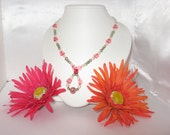 CLEARANCE ITEM !!  Pink and Green necklace with magnetic clasp, any occasion, women, teens, focal bead, glass and acrylic beads, unique