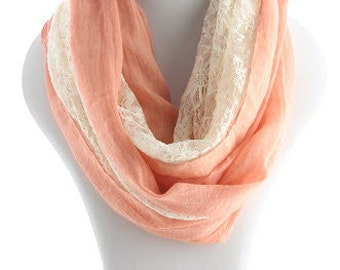 Free Shipping - Peach Linen Lace Infinity Scarf - Half Lace Half Linen Infinity Scarf -  Lace Infinity  Scarf - Peach Infinity Scarf