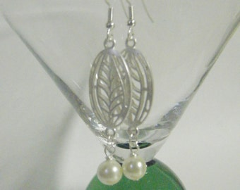 Matte Silver Leaf Cutout Earrings with Ivory Pearl on Silver Finished Surgical Steel