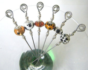 Animal Print Black, Brown, and White Glass Stainless Steel Cocktail Appetizer Picks Set of 6
