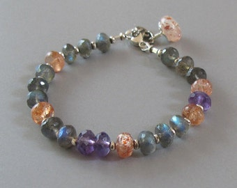 Labradorite Sunstone Amethyst Bracelet Gemstone Silver Bead DJStrang Boho Cottage Chic Color Flash