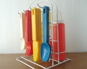 Vintage Picnic Set Camping Caddy Flatware S&P Shakers Primary Colors FREE SHIPPING