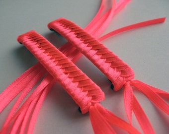 Neon Pink Braided Ribbon Barrettes - 1980s Style Hair Accessories for Girls and Women