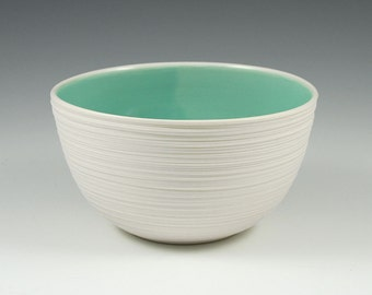 Mint Green Bowl - Ceramic Groove Rice Bowl in Mint Green SHOP SALE
