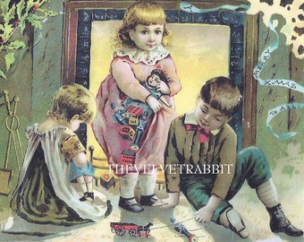 Fabric Blocks,Christmas CHILDREN in the firelight.Toys.Rare advertising image.Two Blocks 5 by 7 Inches.Wonderful.Stock up for Christmas