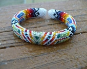 Peyote stitch beaded bracelet, Native American beadwork handmade