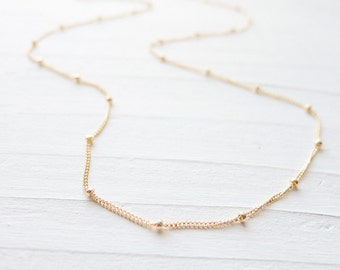 Gold Beaded Chain Satellite 14K Gold Fill Wish Chain Saturn Wishes Dainty Beaded Choker Chain Length Available