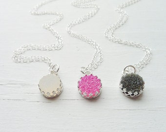 Dainty Druzy Necklace with Crown Bezel White Druzy Necklaces Black Drusy Pendant Sterling Silver Drusy Cabochon Delicate Jewelry
