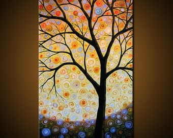 """Large Original Art  Wall Decor Abstract Modern Colorful Tree Painting ... 36"""" x 60"""" ... """"Sunbringer"""", Free US shipping"""