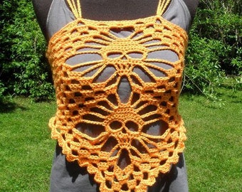 skull tank top, halter top, lacy layering fashion top