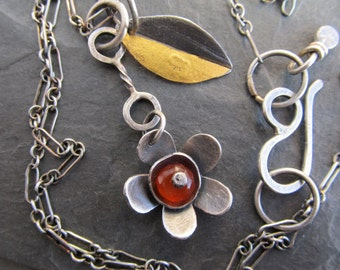 Silver Charm Necklace Flower Leaf ORANGE Gemstone 23K Gold Keum Boo