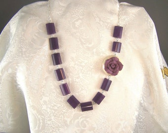 Aubergine Necklace with Rose