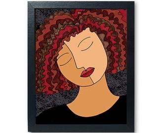 African American Woman Art Print - Alexandra - female portrait art giclee, reproduction, strong female, Girl wall art decor, inner peace