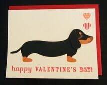 Valentine Teriyaki the Dachshund Doxie Happy Valentine's Day Hearts Note Card with Envelope