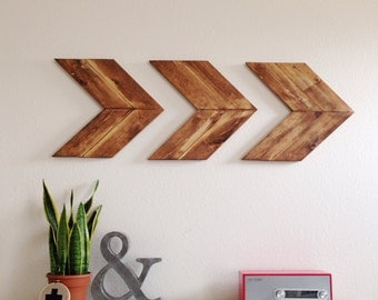 Wood Arrow Wall Art, Chevron Home Decor