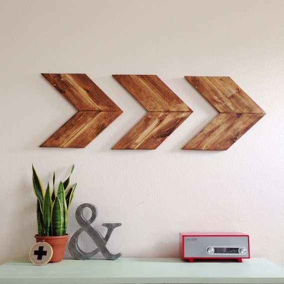 Items similar to wood arrow wall art chevron home decor for Wooden art home decorations