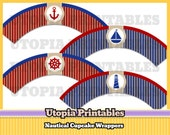 Printable Nautical Cupcake Wrappers