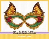 Printable Masquerade Butterfly Mask - Gold