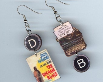 Book Cover Earrings Kerouac The Dharma Bums vintage Typewriter