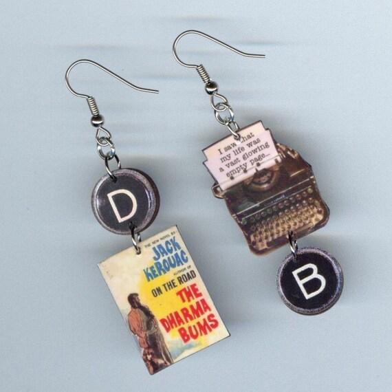 Book Cover Earrings Kerouac The Dharma Bums vintage Typewriter