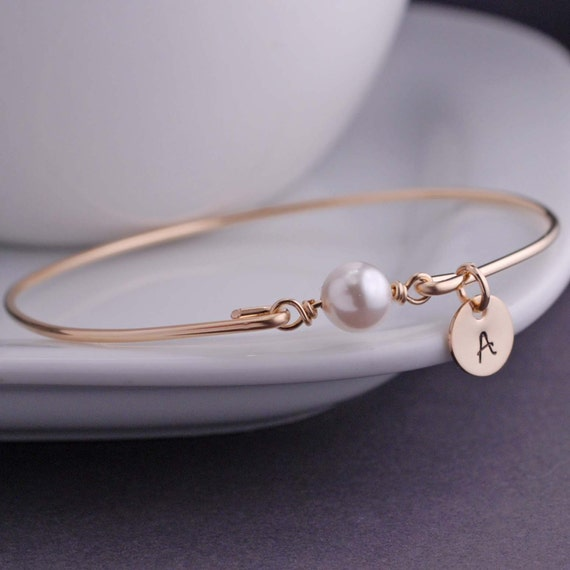 Personalized Pearl Jewelry, June Birthday Gift Idea, June Birthstone, Gold Bangle Bracelet,  Swarovski Pearl Bracelet