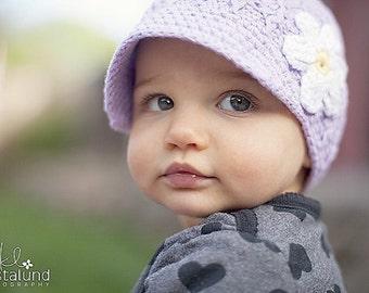 Toddler Hat, Baby Girl Hat, Girl Hat, Girl Newsboy Hat, Baby Newborn Hat, Crochet Baby Hat, Newborn Prop, Lavender White