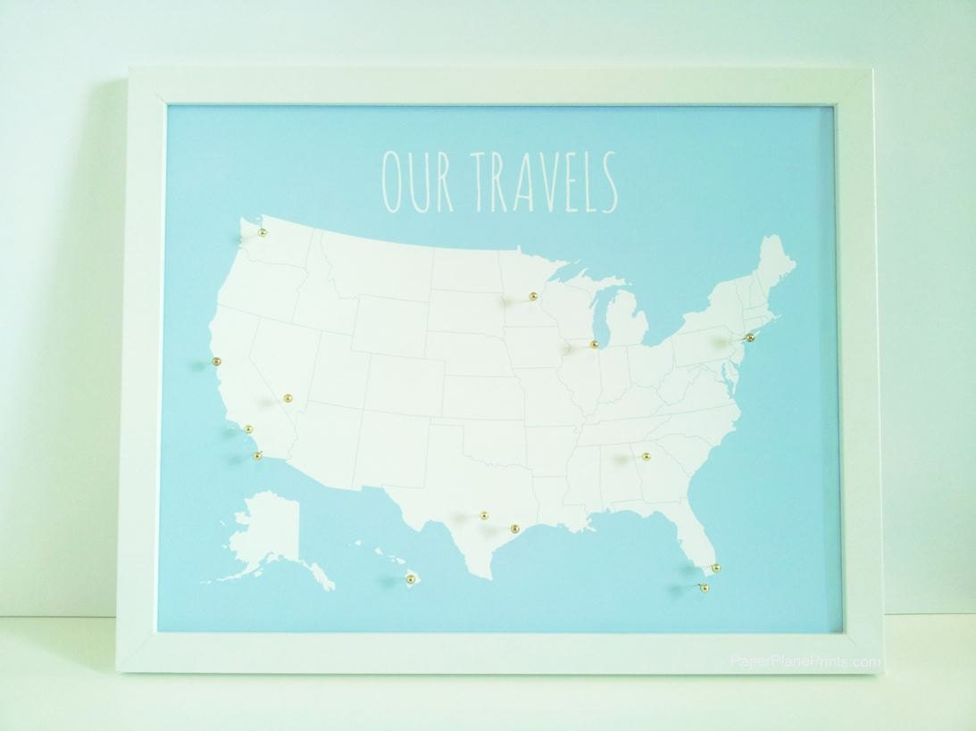USA Travel Map Pin Board Pinnable Map DIY Kit With Pins - Map of the united states cork board