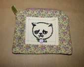 Make up bag pouch sage green and lavender cotton flowers silkscreen