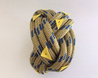 Tan and blue climbing rope bracelet