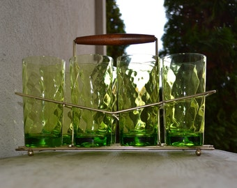 Glass Set of 8 with Caddy - Green - Swirl - Royal Hill Vintage