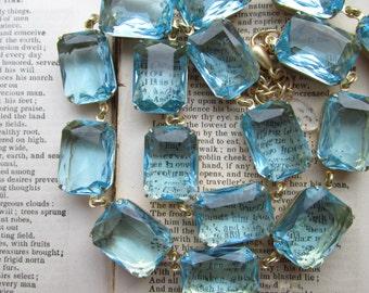 Aqua statement necklace,  georgian collet necklace, Anna Wintour necklace, aquamarine necklace. Beyond the Sea