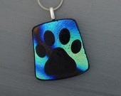Dog Cat Paw Pendant, Hand Engraved Pendant, Image Pendant, Dichroic Fused Glass Pendant, Pet Paw Jewelry,  Fused Glass Pendant - My Paw