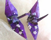 Cherry Blossom Peace Crane Bird, Wedding Cake Topper,  Party Favor Christmas Ornament Origami Sakura Lokta Purple Paper Place Card Holder