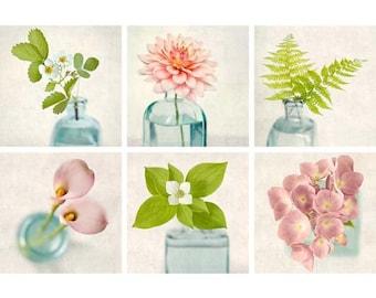 Gallery Wall Art Set, Flower Photography, Pink, Green, Aqua, Art Print Set, Floral, Feminine, Girls Room, Fine Art Photography, Print Set