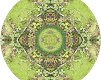 Mandala Art, Abstract Nature Print, Geometric Art Print, Peaceful Round Art, Fine Art Print in Moss Green