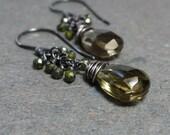 Olive Green  Earrings Green Quartz Cluster Earrings Sterling Silver Oxidized Earrings