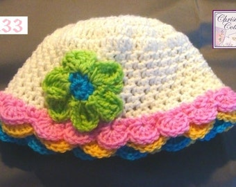 Cotton Sun Hat, Infants to Adults, Crochet Pattern #133