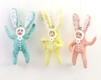 Vintage Inspired Spun Cotton Bunny Children Ornament Set