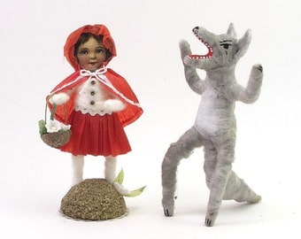 Vintage Inspired Spun Cotton Red Riding Hood and Big Bad Wolf Figures (Pair Set)