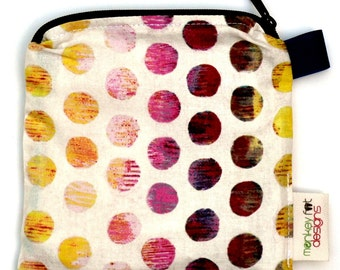 X Small 6.5 x 6.5 Wet bag / Reusable Snack Bag / Toys / Electronics / Michael Miller Ombre Circles Fabric / SEALED SEAMS