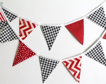 Racing Party Mix Bunting party decoration. Fabric sewn flag Banner. Race Car Photo prop. 12 Pennant flags
