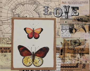 SALE- Life is Beautiful -  mixed media collage on wood panel