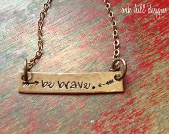 be brave copper bar necklace.layering necklace.bar necklace.name plate necklace