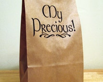 5  My Precious Lunch Bags - Holiday Bags - Party Bags - Favor Bags - Snack Bag - Brown Paper Bag - Printed Kraft Bag