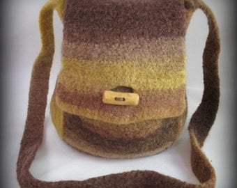 Felted Purse - Orange/Yellow/Brown
